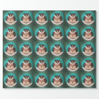 Festive Cute Winter Owl Wrapping Paper