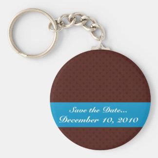 Festive dark brown Circles on a retro brown backgr Key Chain