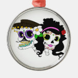 Festive Day of the Dead Art Silver-Colored Round Decoration