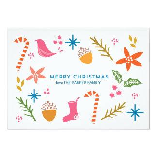 Festive Doodles Merry Christmas Greeting Card 13 Cm X 18 Cm Invitation Card