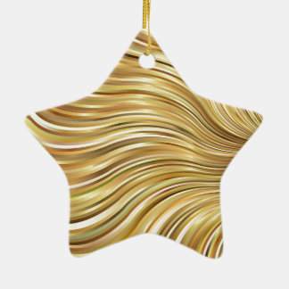 Festive Elegant Gold Abstract Flowing Stripes Star Ceramic Star Decoration