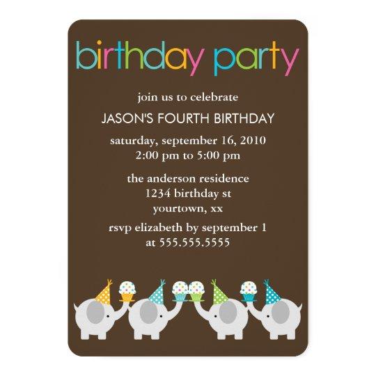 Festive Elephants Kids Birthday Party Card