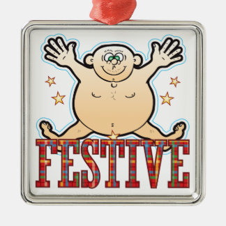 Festive Fat Man Silver-Colored Square Decoration