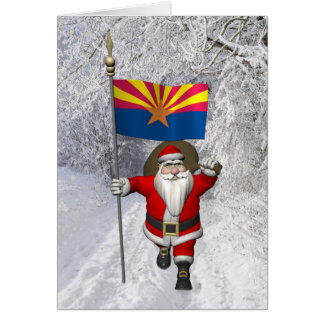 Festive Father Christmas Visiting Arizona Card