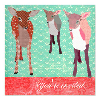 Festive Fawn Family Turquoise Red Invite