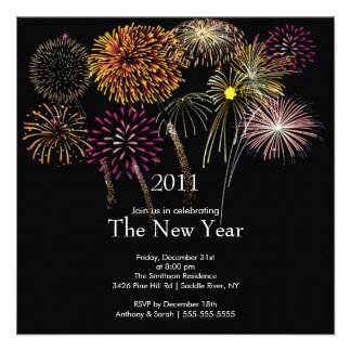 Festive Fireworks New Year Party Invitation