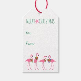Festive Flamingos Christmas Tie On Gift Tags