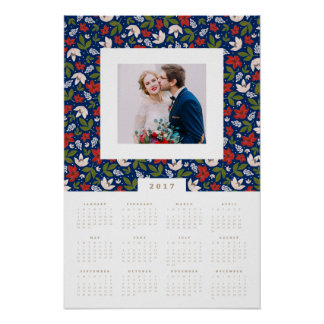 Festive Florals 16x24 2017 Yearly Photo Calendar Poster
