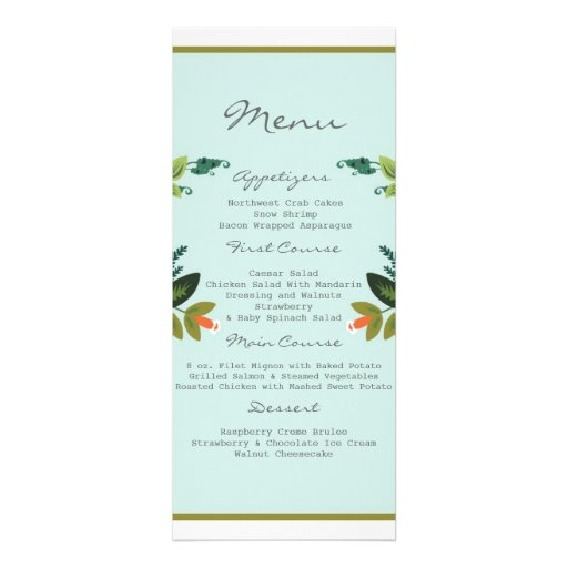 Festive Florals - Baby Blue + Olive / Apple Green Invites