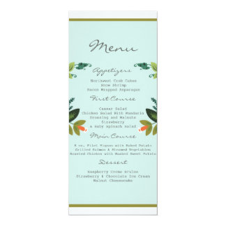 "Festive Florals - Baby Blue + Olive / Apple Green 4"" X 9.25"" Invitation Card"