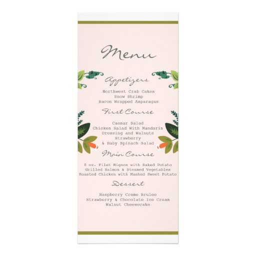 Festive Florals - Baby Pink + Olive / Apple Green Personalized Invite