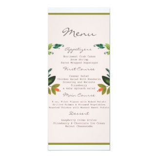 "Festive Florals - Baby Pink + Olive / Apple Green 4"" X 9.25"" Invitation Card"