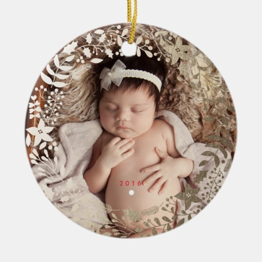 Festive Florals   Personalised Christmas Ornament