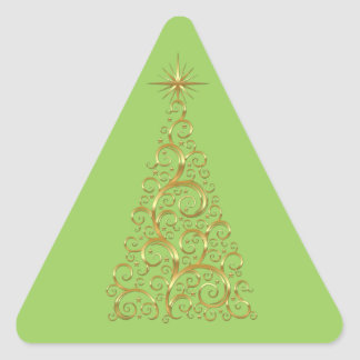 Festive Flourish Gold Christmas Tree Triangle Sticker