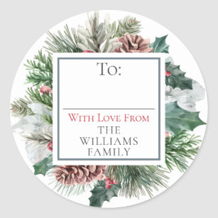 Festive Foliage Holiday Floral To / From Gift Tag
