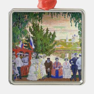 Festive Gathering, 1910 Silver-Colored Square Decoration