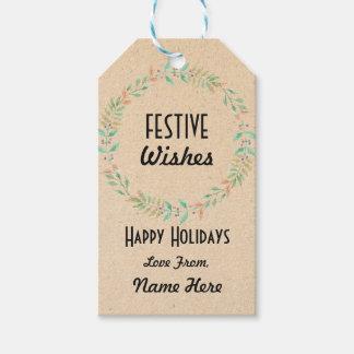 Festive Gift Tags Christmas Wreath Merry Xmas