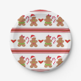 Festive Gingerbread cookies party paper plate