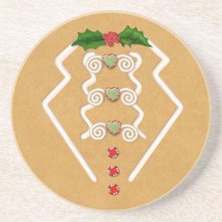 Festive Gingerbread Man Tuxedo Drink Coaster