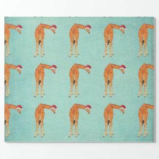 Festive Giraffe Blue Wrapping Paper