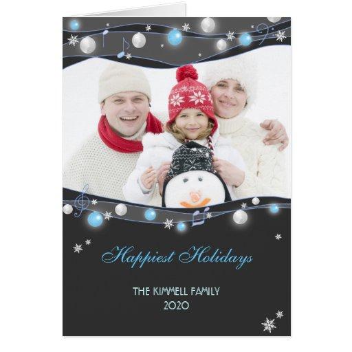 Festive Glittering Lights Christmas Family Photo Greeting Cards