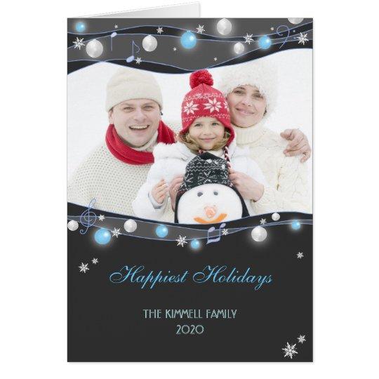 Festive Glittering Lights Christmas Family Photo Card