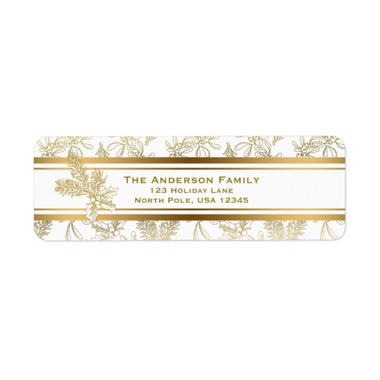 Festive Gold Engraved Holiday Floral Return Address Label
