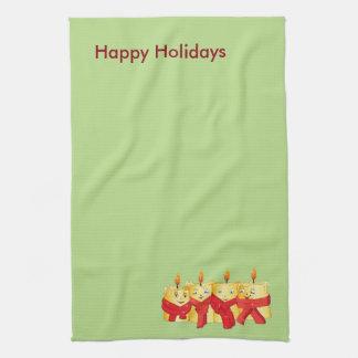 Festive Golden  Christmas candles Towel