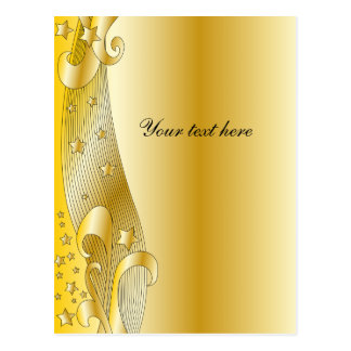 Festive golden design with stars post cards