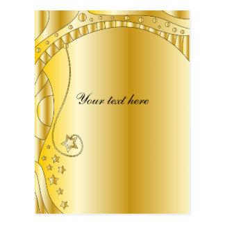 Festive golden design with stars postcard