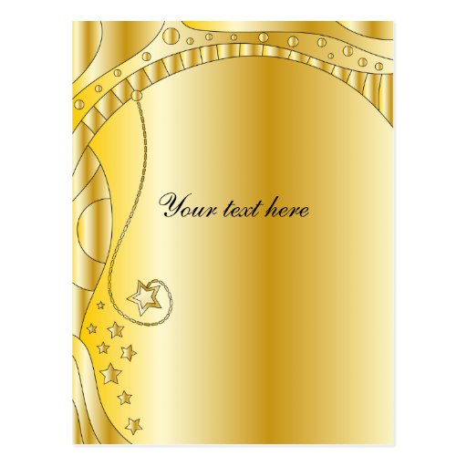 Festive golden design with stars post card