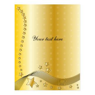 Festive golden design with stars postcards