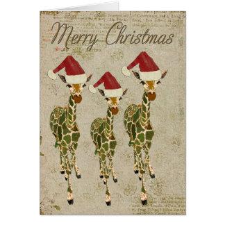 Festive Golden Giraffes Merry Christmas Card