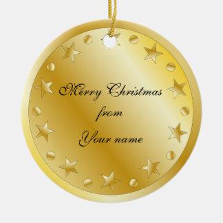 Festive golden stars and dots round ceramic decoration