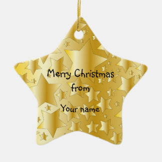 Festive golden stars ceramic star decoration