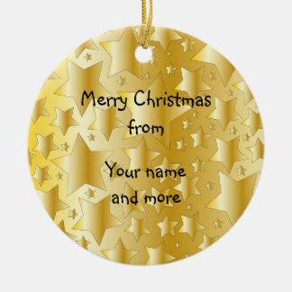 Festive golden stars round ceramic decoration