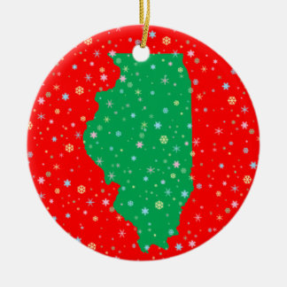 Festive Green and Red Map of Illinois Snowflakes Christmas Ornament