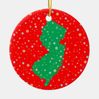 Festive Green and Red Map of New Jersey Snowflakes Christmas Ornament