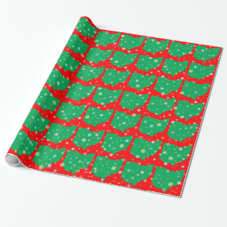 Festive Green and Red Map of Ohio Snowflakes Wrapping Paper