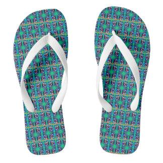Festive green flip flops