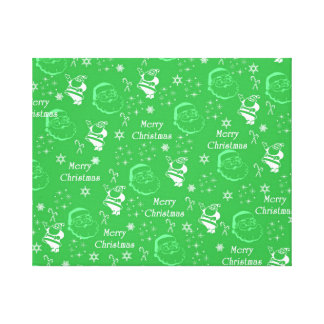 Festive Green Jolly Father Christmas Canvas Prints