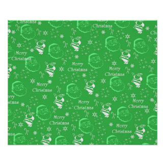 Festive Green Jolly Father Christmas Poster