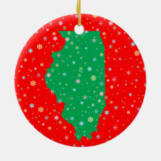 Festive Green on Red Map of illinois Snowflakes Christmas Ornament