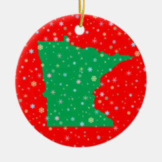 Festive Green on Red Map of Minnesota Snowflakes Christmas Ornament