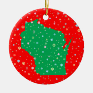 Festive Green on Red Map of Wisconsin Snowflakes Christmas Ornament