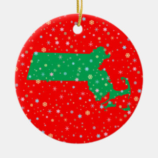 Festive Green Red Map of Massachusetts Snowflakes Christmas Ornament