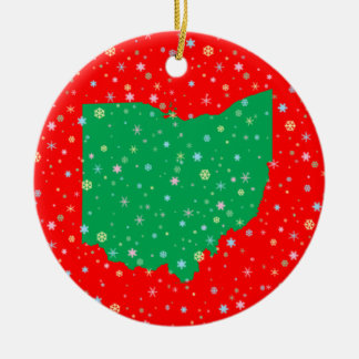 Festive Green Red Map of Ohio Snowflakes Christmas Ornament
