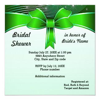 Festive Green Ribbon Bridal Shower Invitation