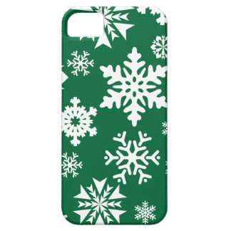 Festive Green Snowflakes Christmas Holiday Pattern iPhone 5 Cases