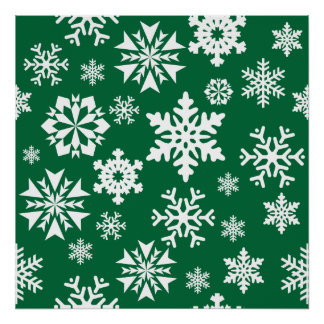 Festive Green Snowflakes Christmas Holiday Pattern Poster